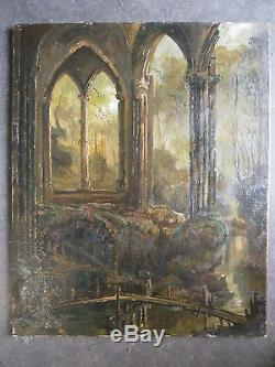Ancienne huile sur toile signé étude imaginaire ruines bois peinture painting