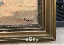 Ancienne huile sur toile signée Malfroy vue du port de Martigues