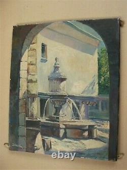 Ancienne huile sur toile signée SIRVAL fontaine du Peyra à Vence
