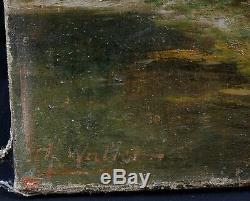 Ancienne huile sur toile signée WALLER transport du bois à cheval et en foret
