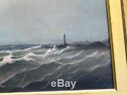 Ancienne huile sur toile xix ème Marine bateaux dans son cadre doré
