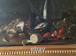 Ancienne nature morte aux huîtres, huile sur toile 59x50 cm S71