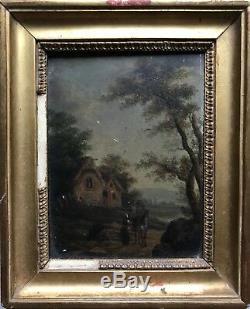 Ancienne paire de tableaux sur bois- Ecole Flamande du XVIIIème siècle