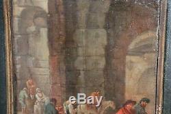 Ancienne peinture à l'huile sur bois du XVIIème siècle avec cadre ancien