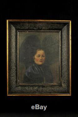 Ancienne peinture à l'huile sur toile, datée 1920 / Jeune Alsacienne coiffe