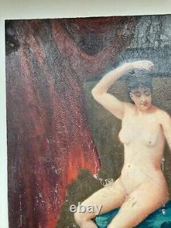 Ancienne peinture huile sur bois femme nu artistique drapée clair obscur 1900's
