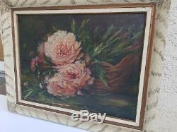 Ancienne peinture huile sur toile bouquet de fleur début XX ème s