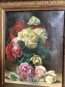 Ancienne peinture huile sur toile bouquet de fleurs signée