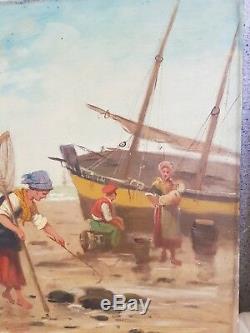 Ancienne peinture huile sur toile, pêcheur breton signé Morin Monin