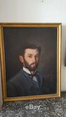 Ancienne peinture huile sur toile portrait