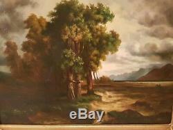 Ancienne peinture huile sur toile signée paysage cadre doré ancien