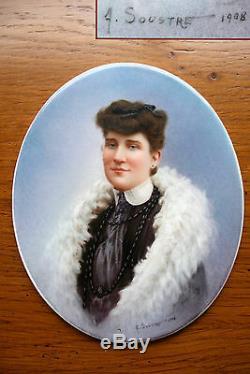 Ancienne peinture miniature huile sur porcelaine portrait signé Soustre 1908