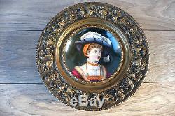 Ancienne peinture miniature portrait huile sur porcelaine XIXe siècle 3