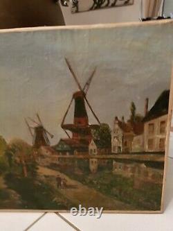 Ancienne peinture moulin à vent huile sur toile XIX ème s, signée Cailly