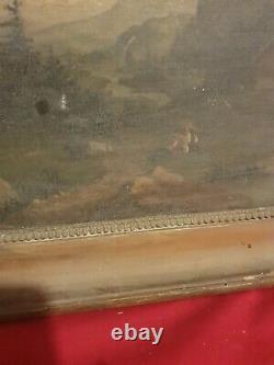 Ancienne peinture paysage de montagne, huile sur toile XIX ème s