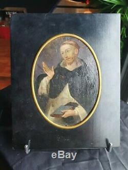 Ancienne peinture sur cuivre 17eme xviie saint religieux religiosa