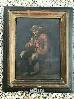 Ancienne peinture sur panneau de bois école flamande fin 19ème genre TENIERS