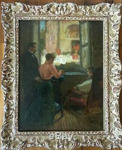 Ancienne scène d'interieur impressionniste huile sur toile ancienne XIX