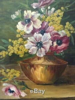 Andrée BENON (1887-1956) Tableau ancien Anémones Mimosas Huile sur toile Signée