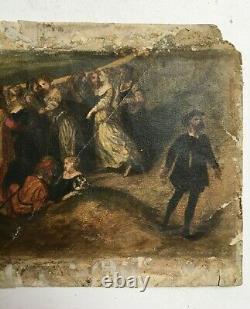 Aquarelle ancienne dans le style de la renaissance, Huile sur papier, XIXe