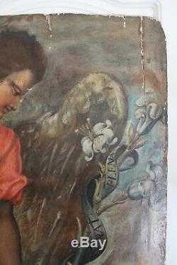 Archange Gabriel Huile Sur Panneau Ancien