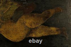Art populaire, ancienne peinture à l'huile sur panneau, Cupidon c. 1850 / Angelot