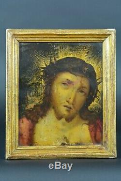 Beau Tableau religious ancien Portrait Christ Ecce Homo sur cuivre 17 ème