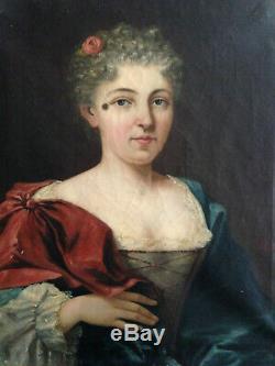 Beau portrait de femme noble XIX noblesse empire huile sur toile ancienne