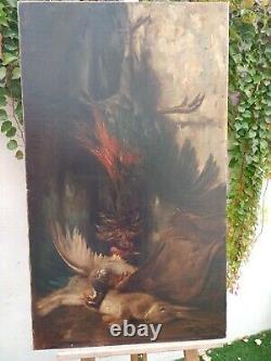 Beau tableau ancien huile sur toile nature morte au gibier signeBOUCHARD