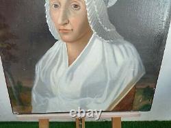 Beau tableau huile sur toile ancien Portrait Femme coiffe