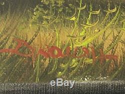 Belle peinture à lhuile sur toile ancienne signée à identifier paysage 50x40