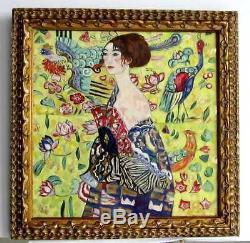 Cadre Ancien Art Deco Peinture Huile Sur Toile Reproduction Klimt (feuille D'or)