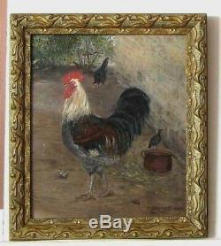 Cadre Ancien Bois Dore Peinture Huile Sur Toile Basse Cour Et Coq