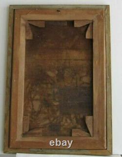Cadre Ancien Bois Dore Peinture Huile Sur Toile Chasseur Et Ses Chiens