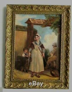 Cadre Ancien Bois Dore Peinture Huile Sur Toile Paysans, Enfants Et Chien