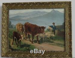 Cadre Ancien Bois Dore Peinture Huile Sur Toile Troupeau Vaches, Moutons