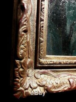 Charmant tableau ancien huile sur bois portrait jeune femme cadre bois doré