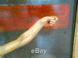 Christ en croix Peinture ancienne huile sur bois Non-signé Cadre doré 92 x 72 cm