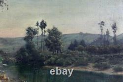 École française Ancienne Huile sur toile paysage à la rivière Crozant France