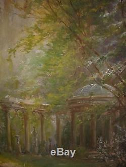 Edmond Allouard (xix Xx) Ruines Dans Un Parc Tableau Ancien Huile Sur Toile