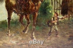 Emile Bujon Ancienne Huile Sur Panneau Soldat Et Cheval Signeé Et Daté 1899