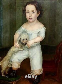 Enfant Avec Chien. Huile Sur Toile. Cadre Ancien. Espagne. Circa 1840