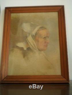 Etude Tete Femme Bretonne Huile Sur Toile Peinture Classique Ancienne Bretagne