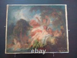 Exceptionnel tableau Fragonard Les baigneuses signé huile sur toile ancienne