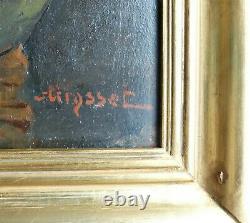 FLEURS dans un VASE Grand Tableau Ancien XIXe Signé en Rouge Sur Bois Acajou