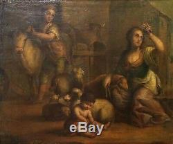 Famille De Paysans. Huile Sur Toile. Cadre Ancien. Espagne. Xviiième Siècle