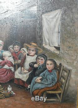 Famille En Veillée Huile Sur Panneau Ancienne Encadrement Cadre Doré