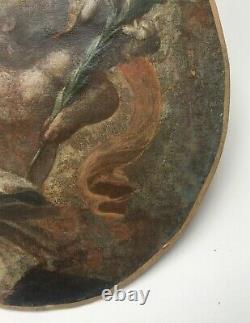 Fragment de peinture ancienne, Huile sur toile, Murillo Putto, XIXe ou avant