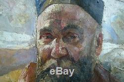 France Leplat tableau ancien huile sur toile portrait d'homme 1925