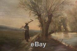 Frechon 1865 Huile sur toile peinture ancienne Adam cadre napoléon III XIXème